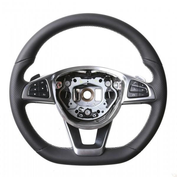 Mercedes Lenkrad W205 AMG W176 R172 SLK SLC Daumenauflagen Kombibezug Naht silber