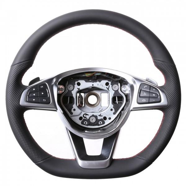 Mercedes Lenkrad A CLA GLA GL Klasse W176 W117 X156 X166 Kombibezug Naht rot