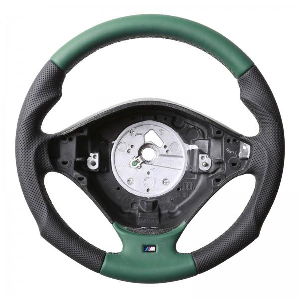 BMW Lenkrad E36 E38 E39 Z3 M Sportlenkrad Tuning Kombibezug grün Naht grün