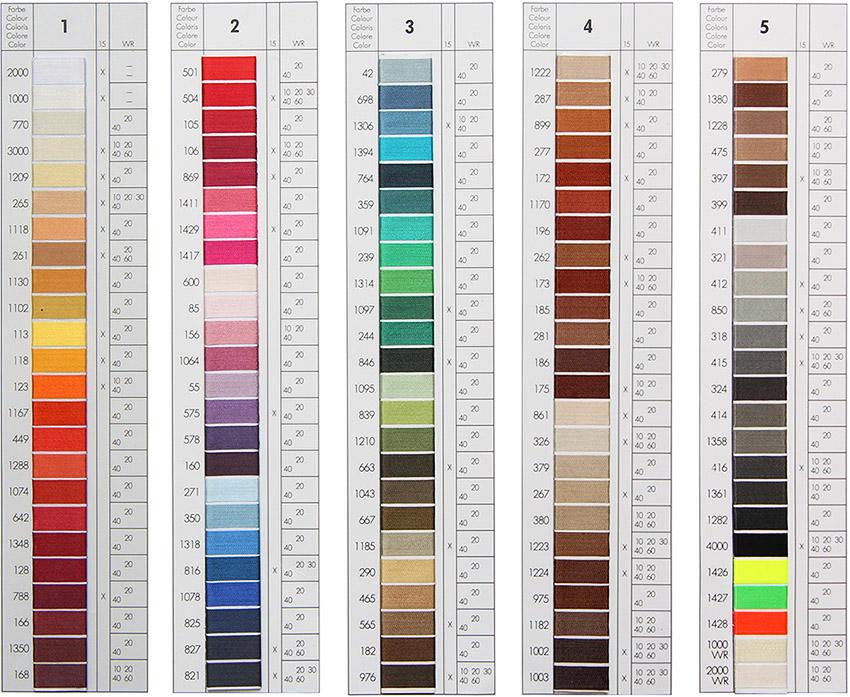 Nähte in verschiedenen Farben