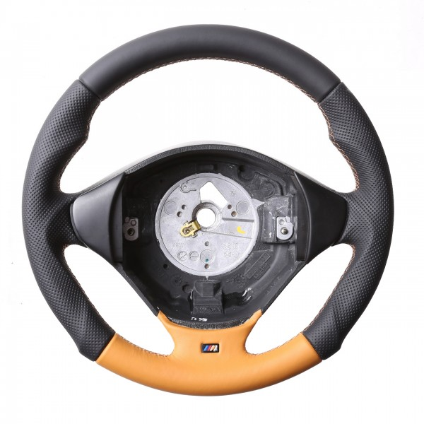 BMW Lenkrad E36 E38 E39 Z3 M-Sport Tuning Bicolor orange Kombibezug Naht orange