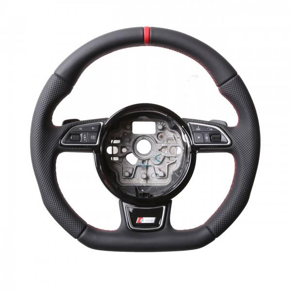 Audi Lenkrad A4 A1 S1 A6 S6 A7 A8 Q3 Kombibezug 12 Uhr Markierung rot Naht rot