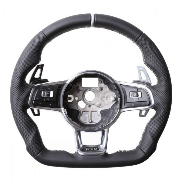 VW Lenkrad Golf 7 GTI Polo GTI GTD Polo R6 DSG Arteon Abgeflacht Kombibezug 12Uhr Markierung silber