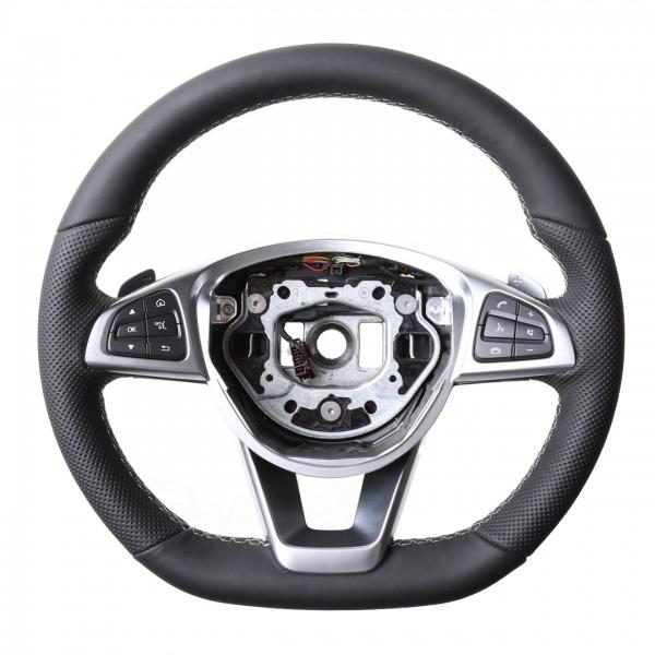 Mercedes Lenkrad A CLA GLA GLS Klasse W176 W117 X156 X166 Kombibezug Naht silber