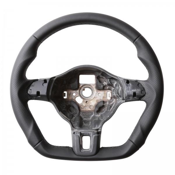 VW Lenkrad Golf 6 Caddy Tiguan Touran Abgeflacht Kombibezug Naht schwarz
