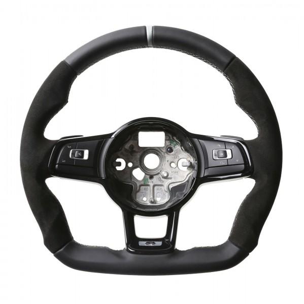 VW Lenkrad Golf 7 GTI Polo GTI GTD Polo R6 DSG Abgeflacht Nappa/Alcantara 12Uhr Merkierung silber